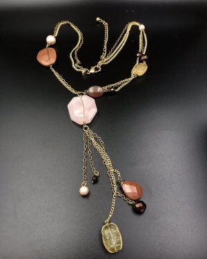 CHICO'S Long Necklace Gold Tone Beaded Stone Pearl Dangle 22″ Fashion
