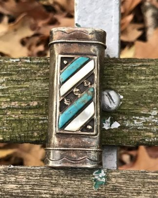 Vintage Retro Bic Lighter Holder Cover Case Silver Tone Turquoise