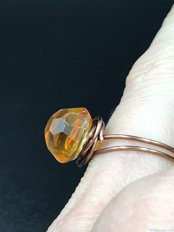 Wire Wrapped Amber Plastic Button Ring - Size 6