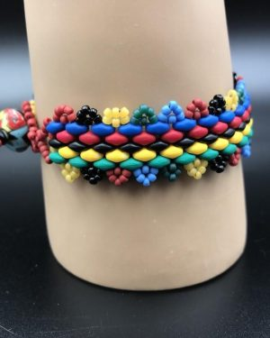 Handmade Multi Colored Red Green Blue Black Colorful Bead Bracelet – Wow