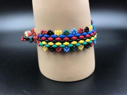 Handmade Multi Colored Red Green Blue Black Colorful Bead Bracelet