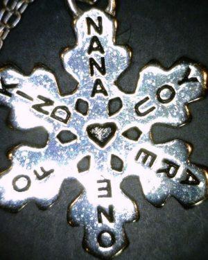 "Grandma Snowflake Necklace Sterling Silver Grandmother Mimi Nana Charm -925 – Engraved ""Nana You Are one of a kind"""