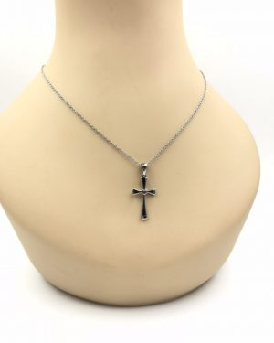 "Women's Lovely Stainless Steel Cross Brushed Heart Pendant Necklace 18″L Signed ""HMK Stainless Steel China"""