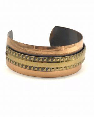 Vintage Modernist Genuine Copper WIDE Cuff BRACELET Brass Detail Retro