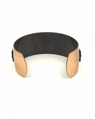 Vintage Modernist Genuine Copper WIDE Cuff BRACELET Brass Detail Retro