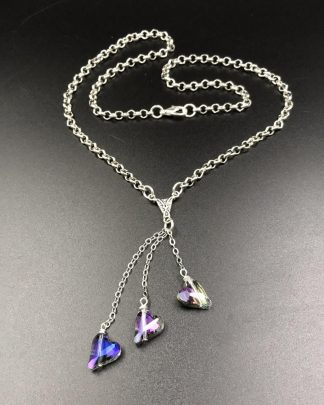 Handmade Layered Three Tier Purple Heart Rolo Chain Necklace