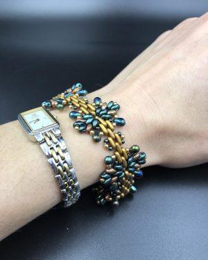 Handmade Beaded Bracelet Star Bracelet Bead-Weaving Green Bronze Christmas Jewelry Holiday Woven Beaded Bracelet
