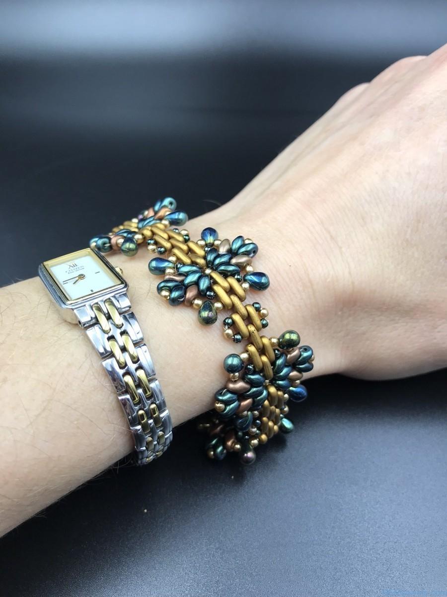 Handmade Beaded Bracelet Star Bracelet Bead Weaving Green