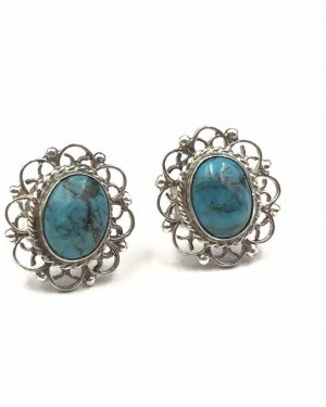 Vintage Sterling Silver Filigree Stud Earrings Blue Green Turquoise Stone- Signed 925 Mexico