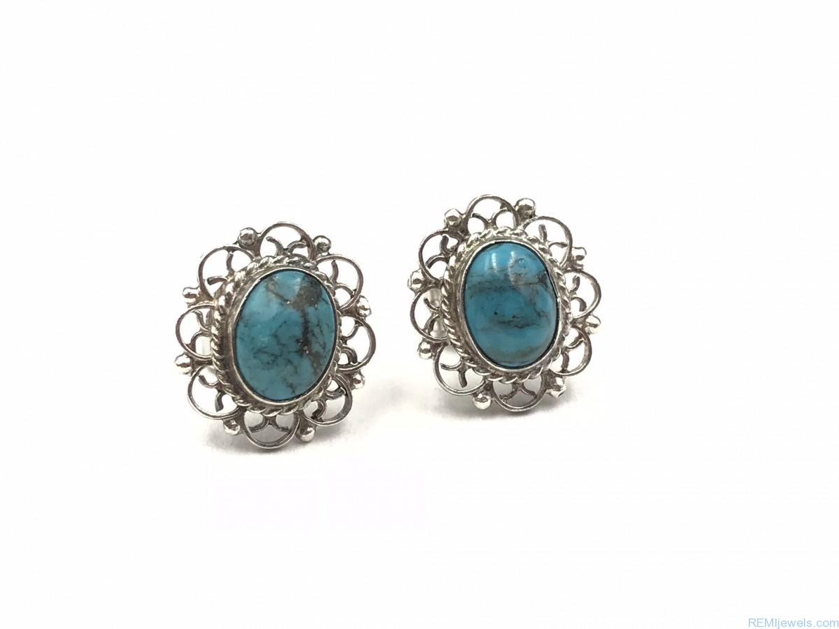 Synthetic Turquoise Flower Shape Stud Earring Sterling Silver