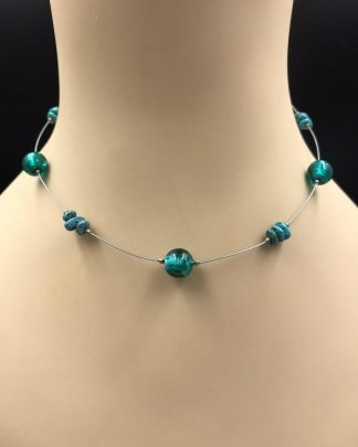 Silpada Sterling Silver Turquoise Green Glass Bead Choker Necklace