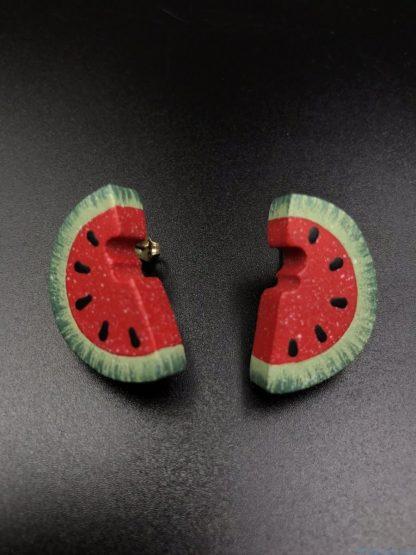 Vintage Carved Wood Green Red Watermelon Pierced Earrings
