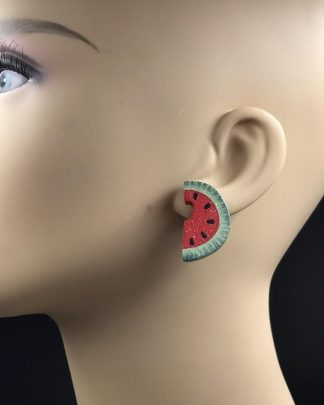 Vintage Carved Wood Green Red Watermelon Pierced Earrings