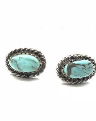 Vintage Sterling Silver Turquoise Blue Stud Earrings Rope Detail