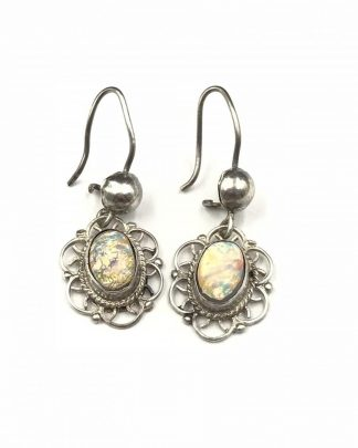 Vintage Opal Cabochon Sterling Silver Dangle Earrings Filigree Detail