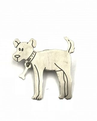 Silver Tone Dog Puppy Dangle Bone Pin