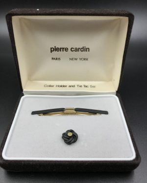 Pierre Cardin Collar Holder Knot Design Tie Tac Set Vintage Gold Tone