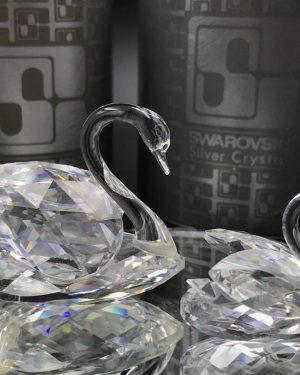 Swarovski Silver Crystal Swans 1980 Original Box