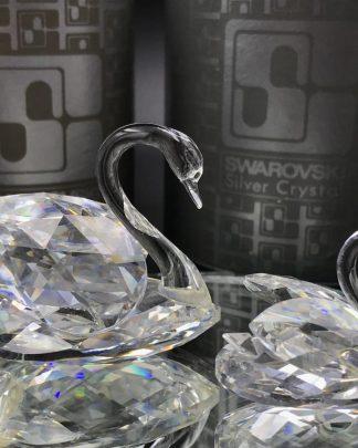 Vintage Swarovski Silver Crystal 2 Swan Mirror Austria Prestige in Crystal