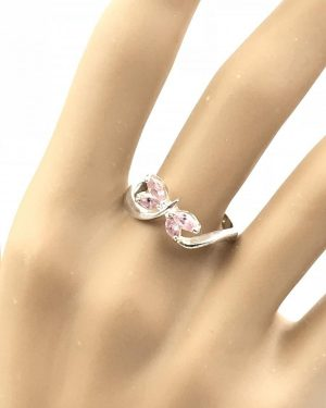 Butterfly Pink Faceted Stones Sterling Silver Ring Size 8 – 925