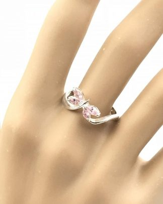Butterfly Pink Faceted Stones Sterling Silver Ring Retro Fine Size 8