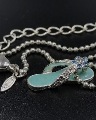 "Signed Avon Aqua Rhinestone Sandal Flip Flop Pendant Necklace 16"" - Beaded Chain"