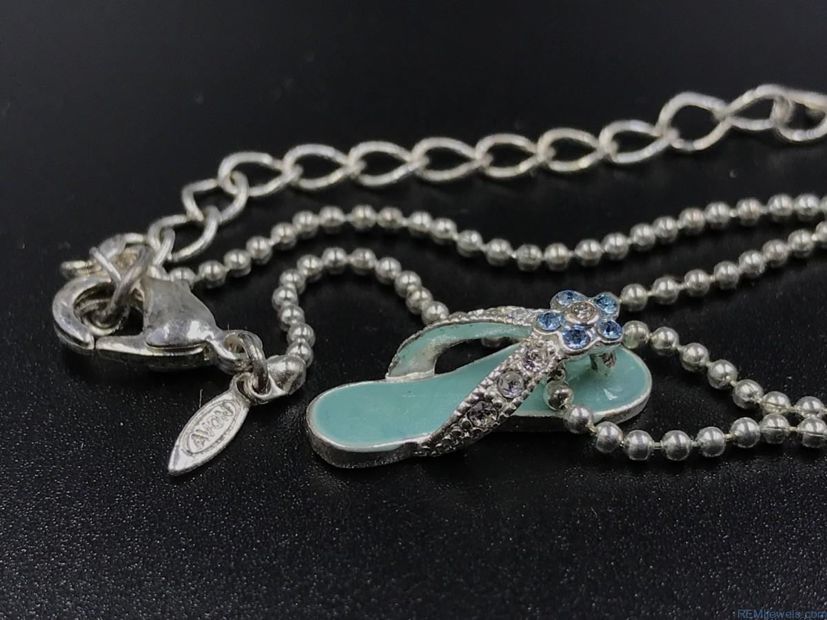 signed avon aqua rhinestone sandal flip flop pendant necklace. Black Bedroom Furniture Sets. Home Design Ideas