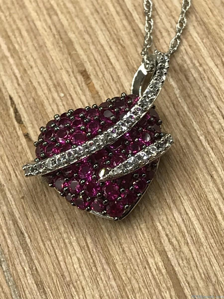 Sterling Silver Ruby Micro Pave Puffed Heart Love Pendant