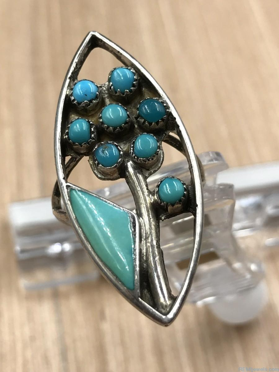 Vintage Zuni Turquoise Flower Sterling Silver Ring Signed