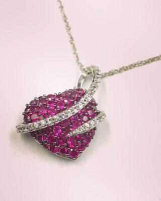 "Sterling Silver Ruby Micro Pave Puffed Heart Love Pendant Necklace 18"" Crystal Accent"
