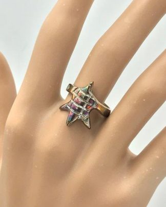 Vintage Enchanting Mexico Turtle Shell Ring Sterling Silver Size 7 for sale