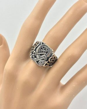 Unique Vintage Celtic Knot Design Solid Sterling Silver Wide Band Ring Size 13