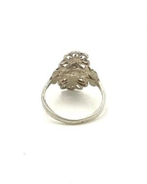 Womens Sterling Silver Flat Filigree Sparkly Flower Design Ring Size 4.5 – Signed 925