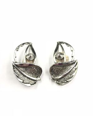 Vintage Sarah Cov Clip Earrings Leaf Silver Tone Designer Jewelry