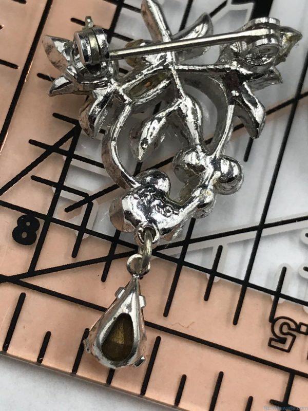 Coro Vintage Rhinestones Leaf Flower Silver Tone Brooch Pin