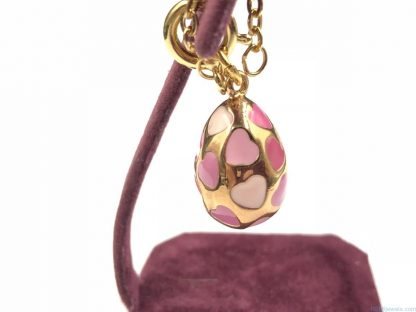 The Joan Rivers Gold Plated Pink Hearts Egg Charm Pendant w/ Extender Chain