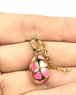 Joan Rivers Gold Plated Pink Hearts Egg Charm Pendant w/ Extender Chain
