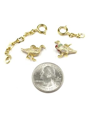 Rare Joan Rivers Gold Tone Enamel Geese Noah's Ark Charms w/ Extenders