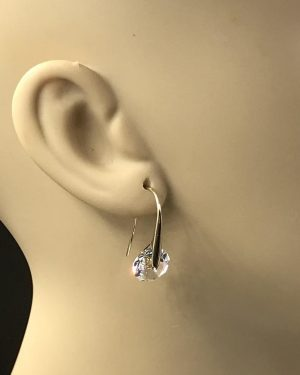 Dazzling Mestige Swarovski Crystal Eclipse Earrings Rhodium Plated Drop Earrings