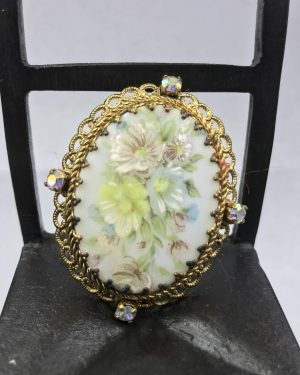 Vintage Ornate Floral Pin Pendant Brooch Necklace Flower West Germany Costume Jewelry