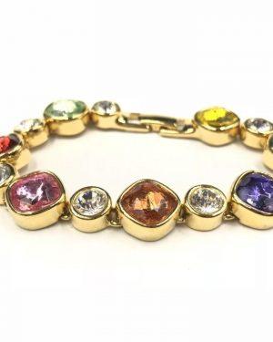 Vintage Joan Rivers Multi Color Rhinestone Bracelet