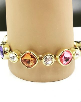 Joan Rivers Gold Tone Links Multi Color Bracelet Glass Designer Signed