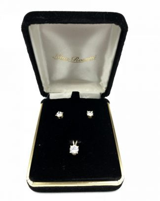 Nina Rossini 14 K Yellow Gold CZ Earrings Matching 14K Pendant Set Original Box