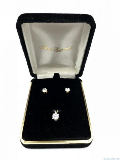 Nina Rossini 14 K Yellow Gold CZ Earrings Matching 14K Pendant Set Original Box