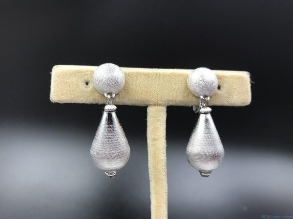 Vintage Monet Textured Silver Tone Rain Drop Dangle Clip Earrings
