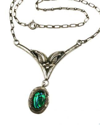 Sterling Silver Vintage V Pendant Dangling Green Cabochon Sawtooth Bezel