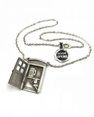 Vintage Novelty Pewter Telephone Booth Pendant Chain Necklace