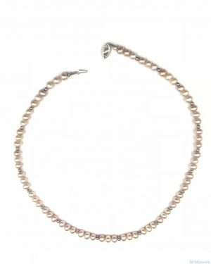 14K White Gold IWI Designer Pink Pearl Necklace 17″