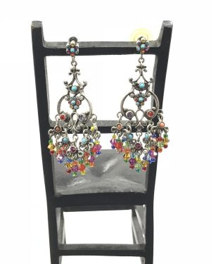 GRAZIANO Couture Chandelier Dangle Statement Earrings Jade Bead! 2.5″ Long