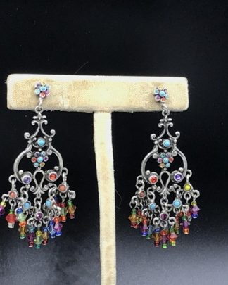 GRAZIANO Couture Chandelier Dangle Statement Earrings Jade Bead